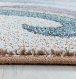 Adana Carpets Rond kindervloerkleed - Fleurtje Eenhoorn Geel