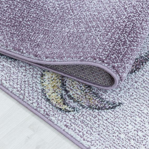 Adana Carpets Rond kindervloerkleed - Fleurtje Eenhoorn Paars