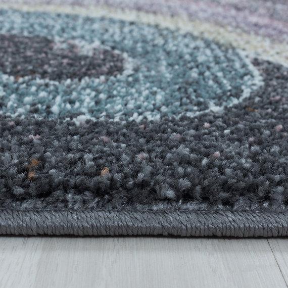 Adana Carpets Rond kindervloerkleed - Fleurtje Eenhoorn Grijs