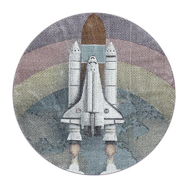 Rond kindervloerkleed - Fleurtje Raket Multicolor
