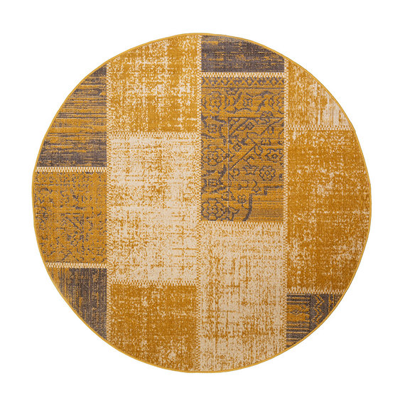 FRAAI Rond patchwork vloerkleed - Spring Okergeel Taupe