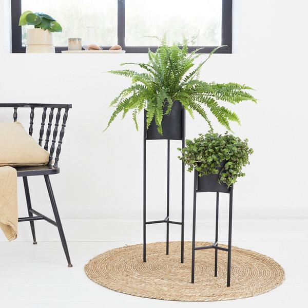 Metalen Plantenbak op Voet - Lily Zwart 2/set