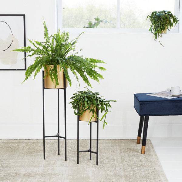 Metalen Plantenbak op Voet - Lily Goud 2/set