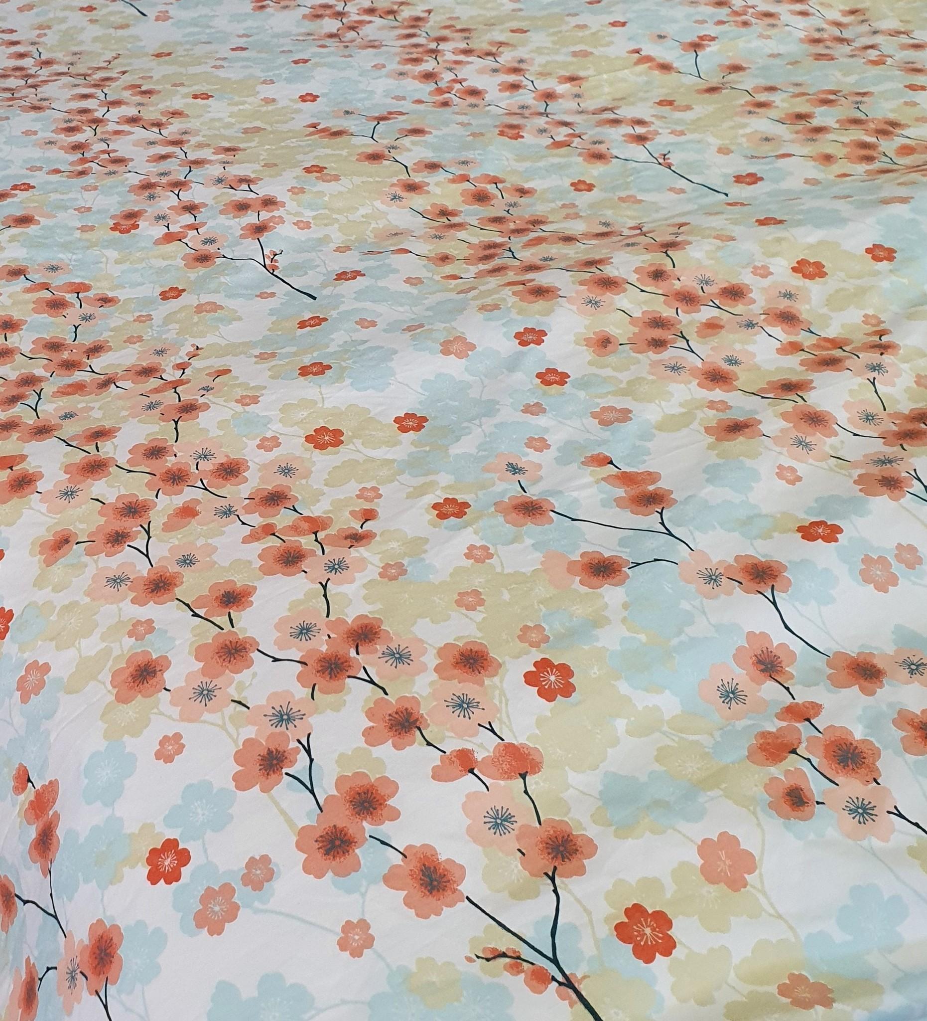 Sofiben Budgetline Sofiben dekbedovertrek met rits Cherry Blossom  katoenmenging 70% katoen / 30% polyester,  140 x 220 met 1 kussensloop