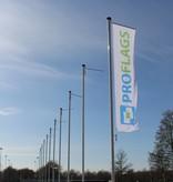 Professionele vlaggenmast met hijsbare banierhouder, 8 meter