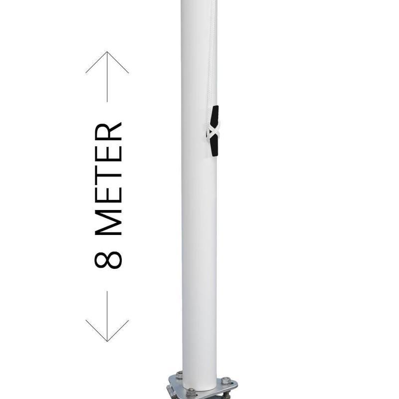 Professionele vlaggenmast, aluminium, 8 meter