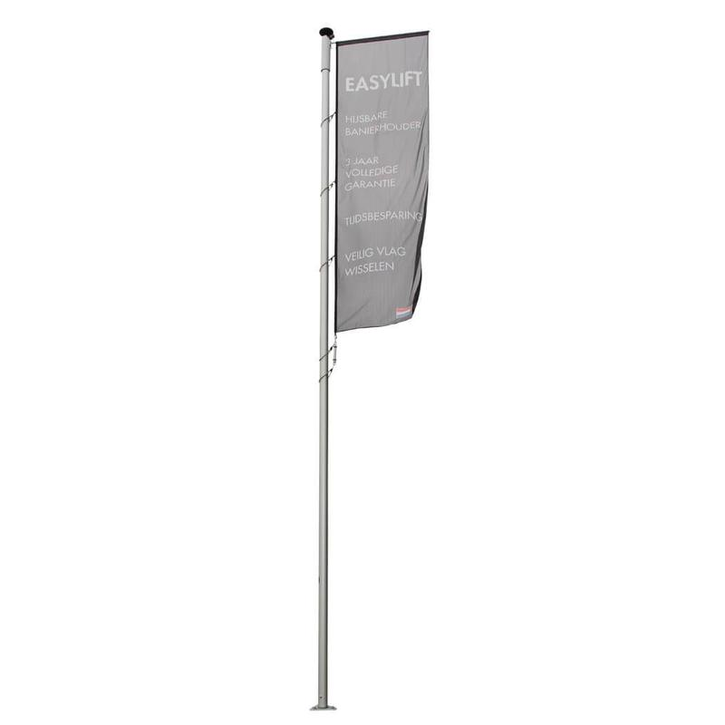 Aluminium mast met hijsbare banierhouder met lier 7 meter