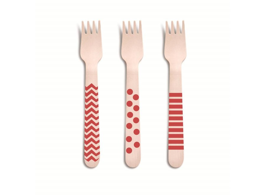 RED WOODEN DECORATIVE FORKS