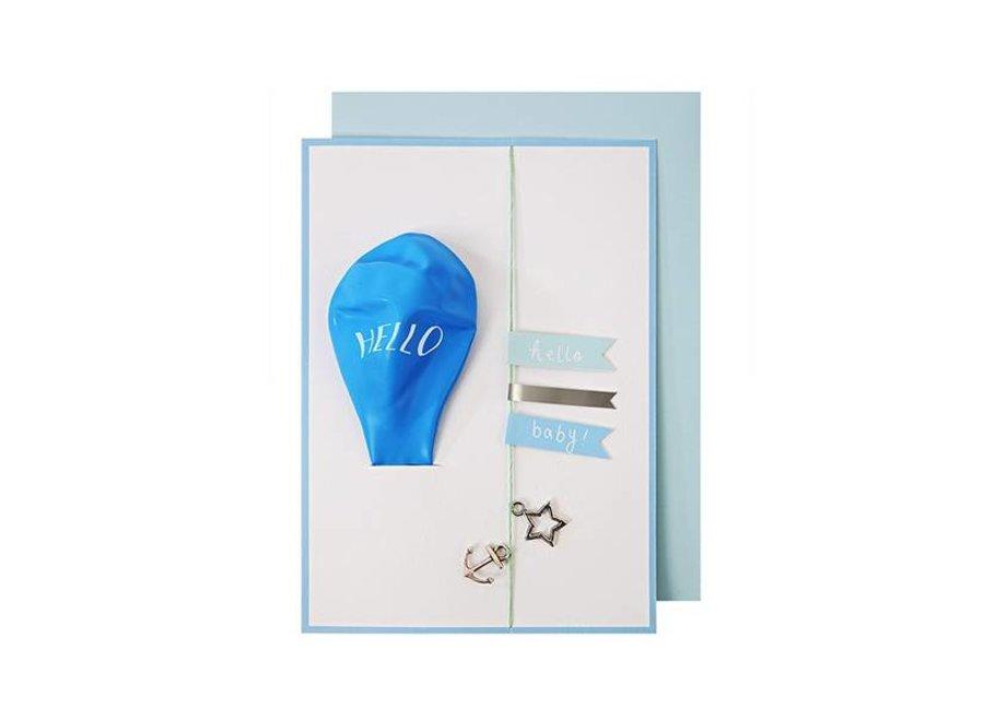 HELLO BLUE BALLOON CARD
