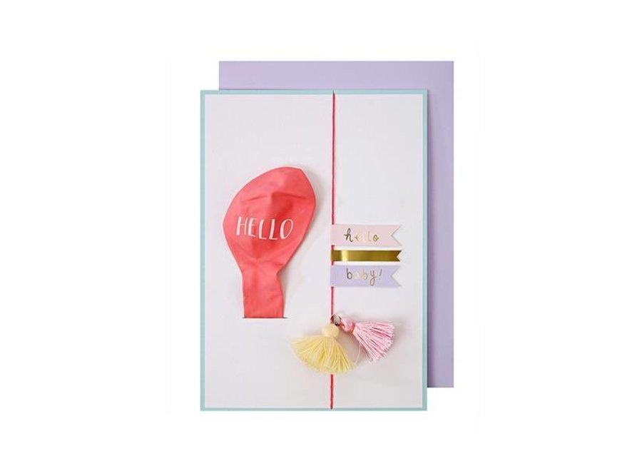 HELLO PINK BALLOON CARD