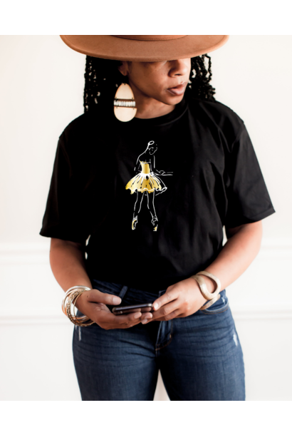 Tee 'At the barre' - black & gold | Art Collection