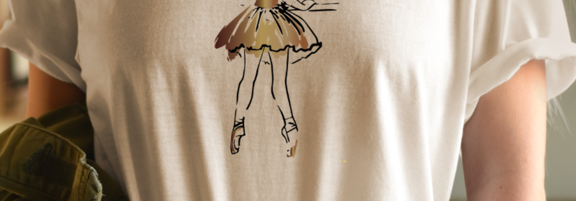 Tee 'At the barre' - vanilla & bronze | Art Collection