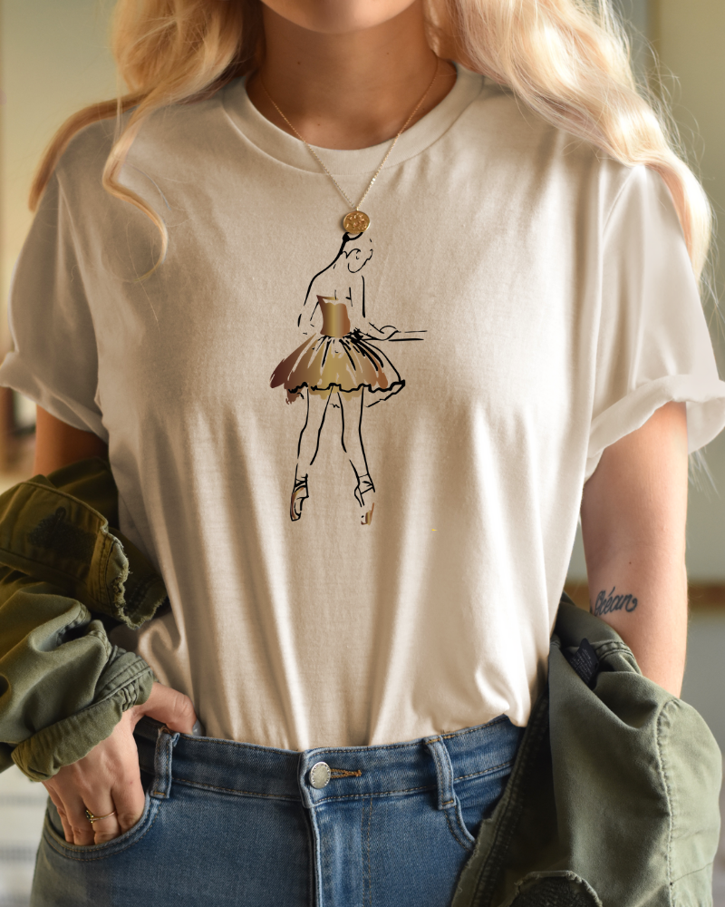 Tee 'At the barre' - vanilla & bronze | Art Collection-1
