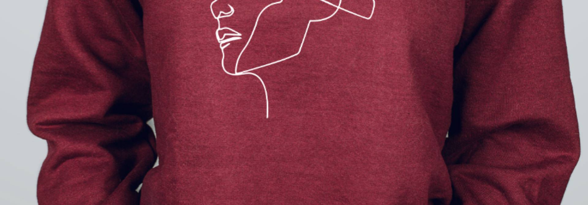 Sweater 'Faces' - burgundy & gold | Art Collection