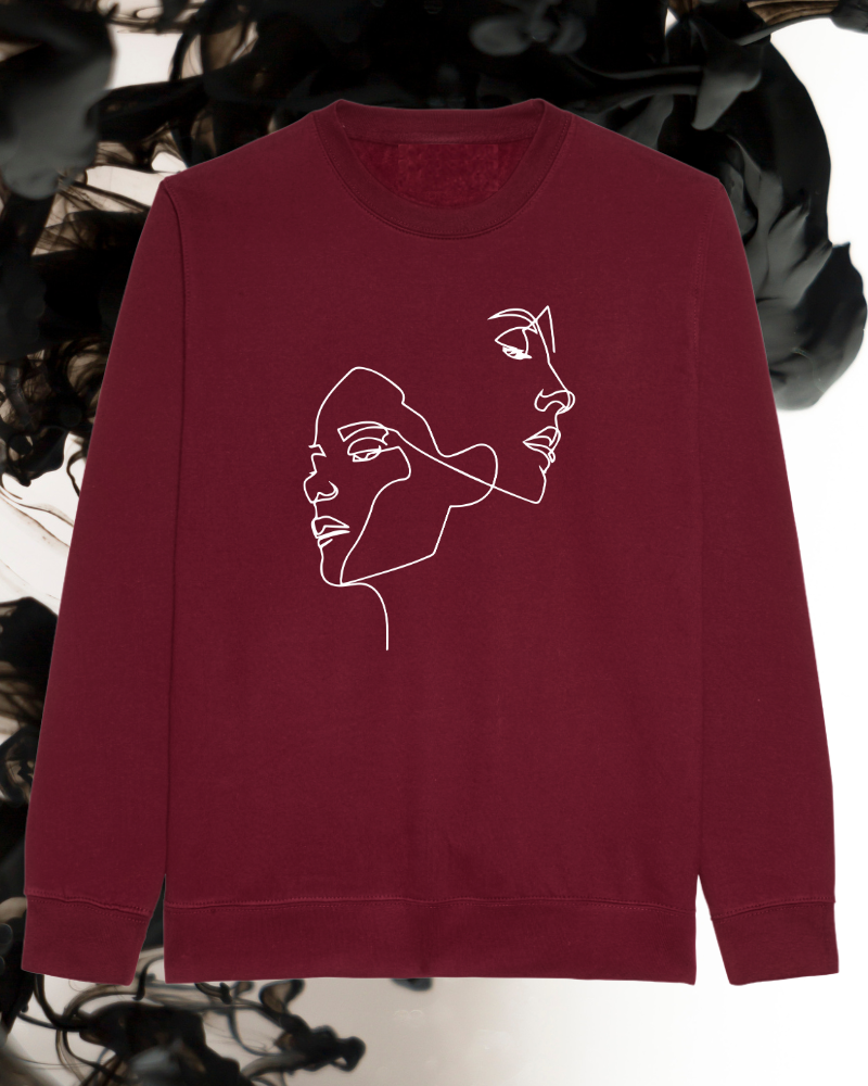 Sweater 'Faces' - burgundy & gold | Art Collection-2