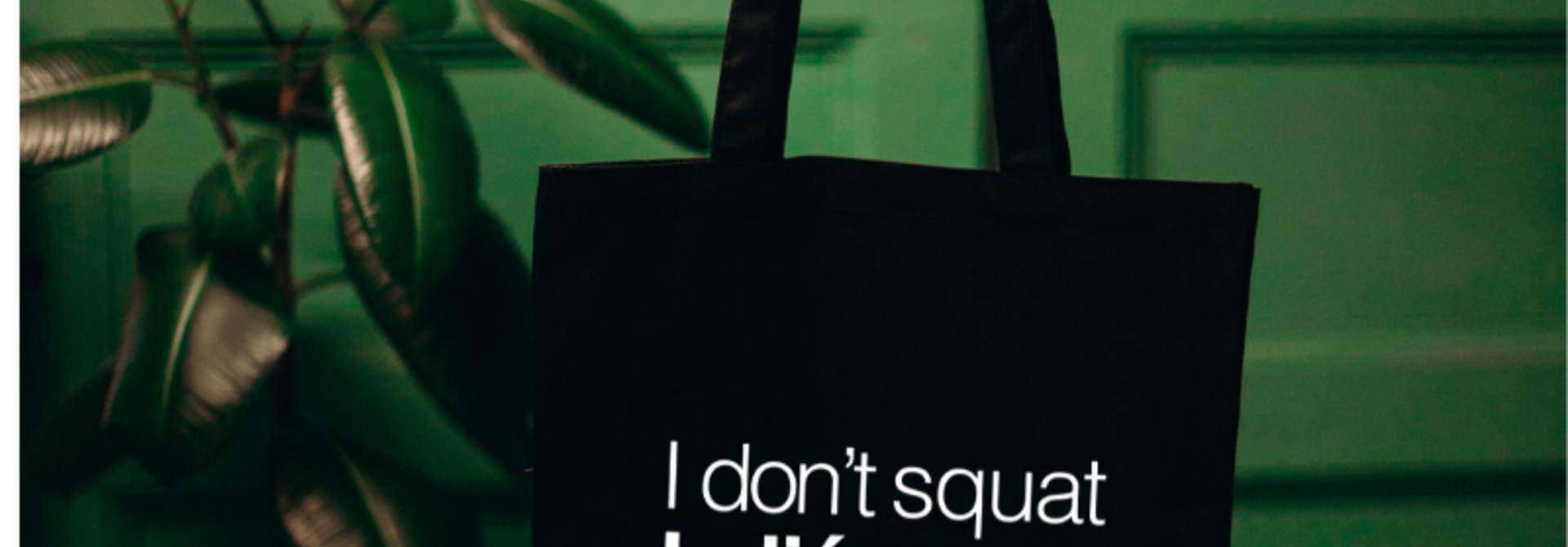 Shopper I Don't Squat I Plié - zwart