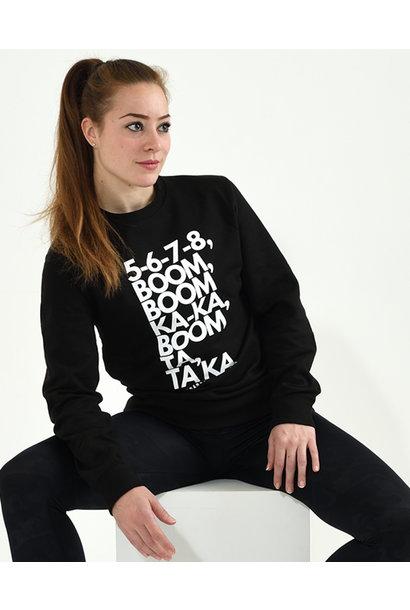 Iconic© sweater Boom Boom - zwart
