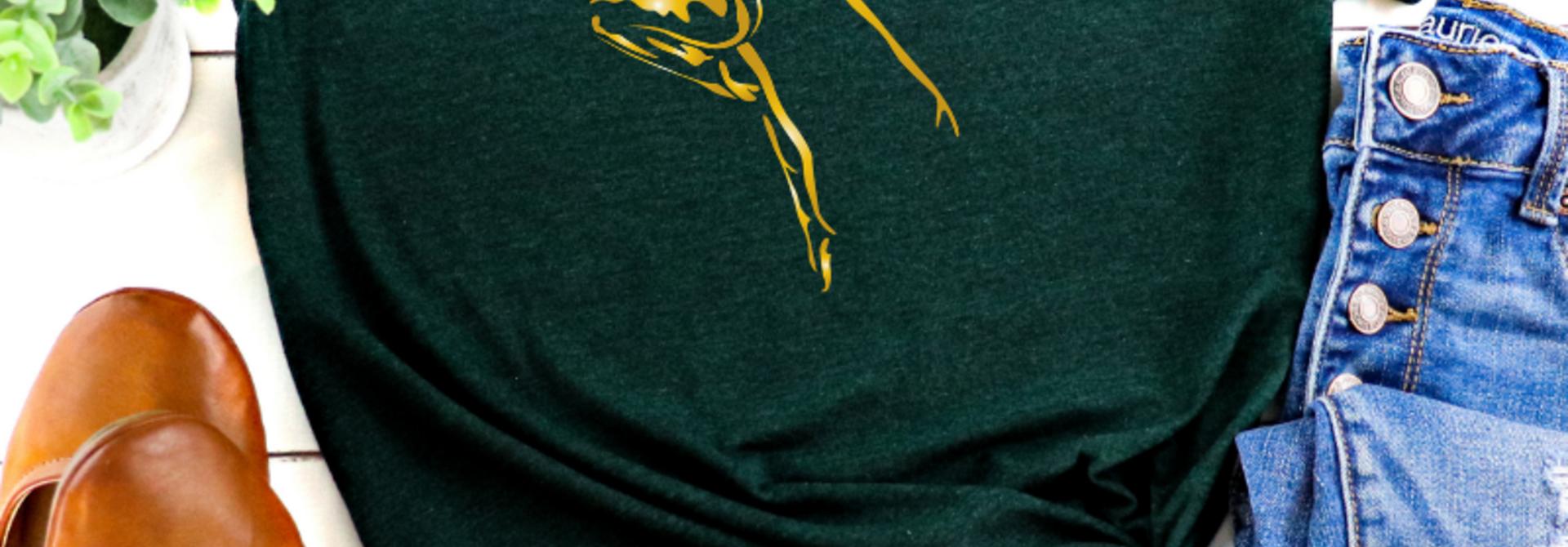 Casual T-shirt Dancer - emerald & gold