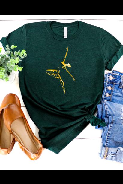 Casual T-shirt Dancer - emerald & goud