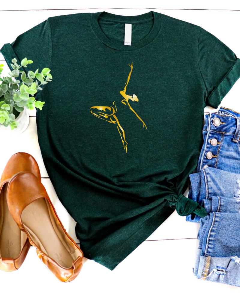 Casual T-shirt Dancer - emerald & gold-1