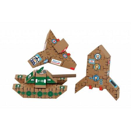 Yohocube Bouw met kartonnen bouwdoosjes een vliegtuig, tank en raket