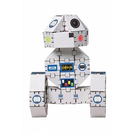 Yohocube Bouw met kartonnen bouwdoosjes een witte robot - yohobot