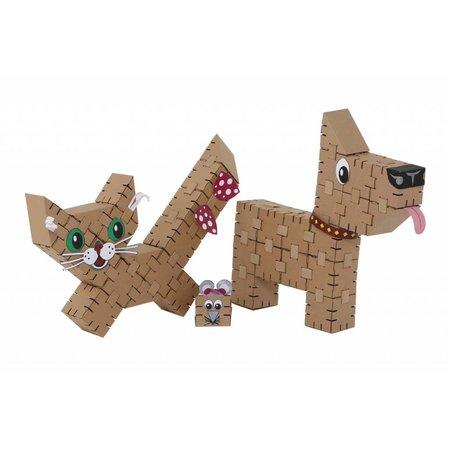 Yohocube Bouw met kartonnen bouwdoosjes een hond of poes