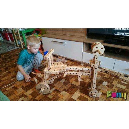 Pony Beukenhouten constructie bouwdoos grote set, 182 onderdelen