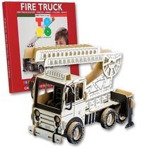 Kartonnen brandweer ladderwagen