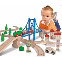 Houten treinset met brug, 55 delig