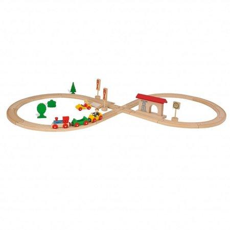 Eichhorn Houten treinset in achtvorm, 35 delig