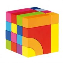 Houten blokpuzzel in kleur