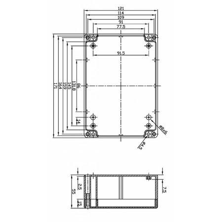Universele behuizing in ABS, voor inbouw printen 171x121x55mm