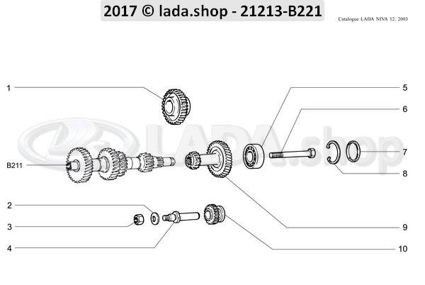 LADA 2107-1701092, Shaft. reverse idler