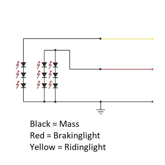Motorfiets Miller LED Stop Lamp met kentekenplaatverlichting