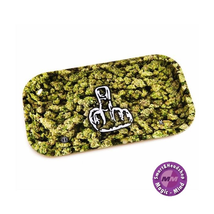 Buds With Middlefinger Metal Rolling Tray Large(L27cm/W16cm)