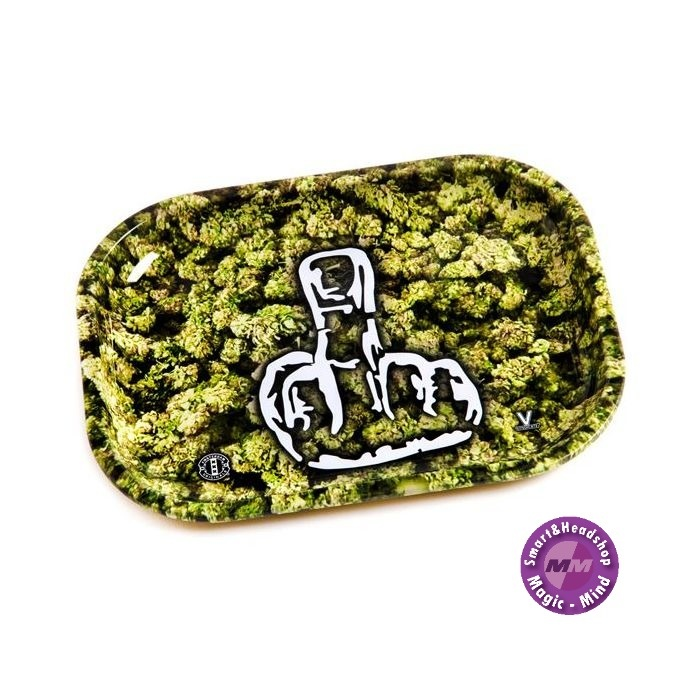 Buds With Middlefinger Metal Rolling Tray Small(18L/14W)
