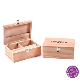 WOODEN ROLLING BOX - I LOVE WEED - LARGE