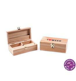 WOODEN ROLLING BOX - I LOVE WEED - MEDIUM