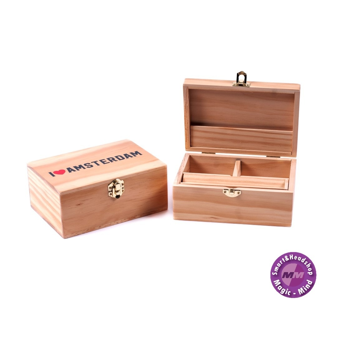WOODEN ROLLING BOX - I LOVE AMSTERDAM - LARGE