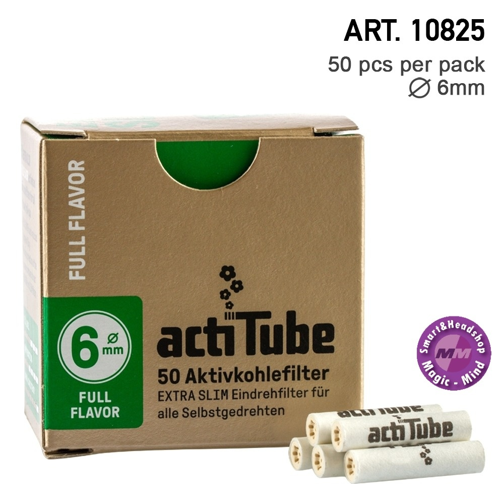 PURIZE - ACTIVE CHARCOAL FILTERS - XTRA SLIM - 50PCS actiTube | Activ Charcoal Slim 6mm Diameter Filters Box 50pcs in box