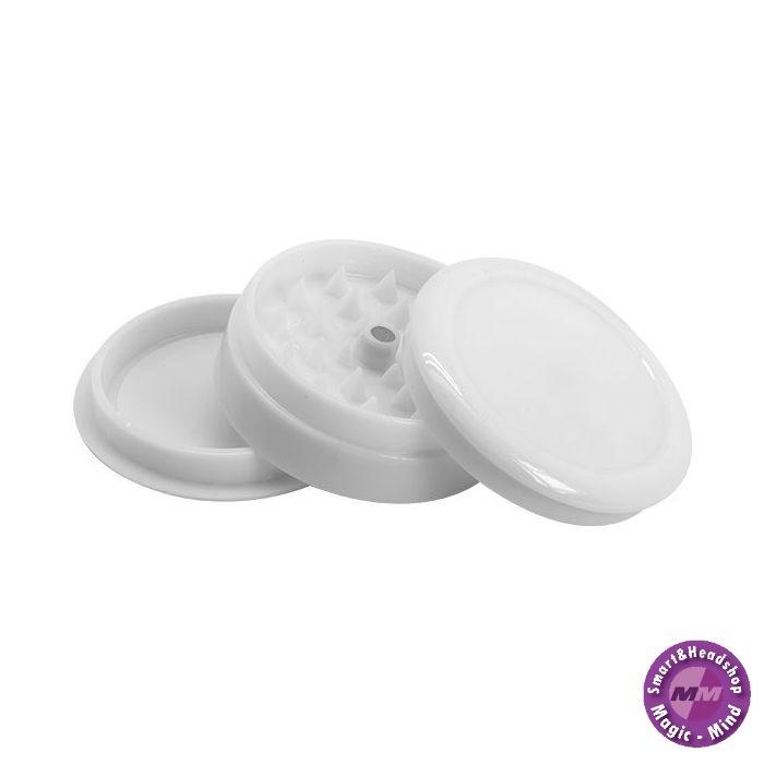 KuluTrading Grinder Plastic(Ø 60 mm, 3 Parts Magnetic+Stash) Solid Black/White