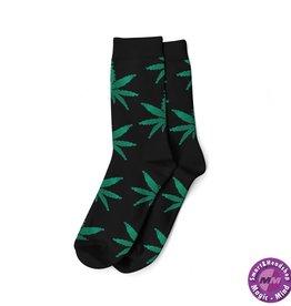 Cannabis LONG SOCKS-MEN'S SIZE(40-45)-BLACK/GREEN
