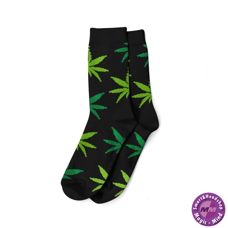 Cannabis LONG SOCKS-MEN'S SIZE(40-45)-BLACK/MIX GREEN