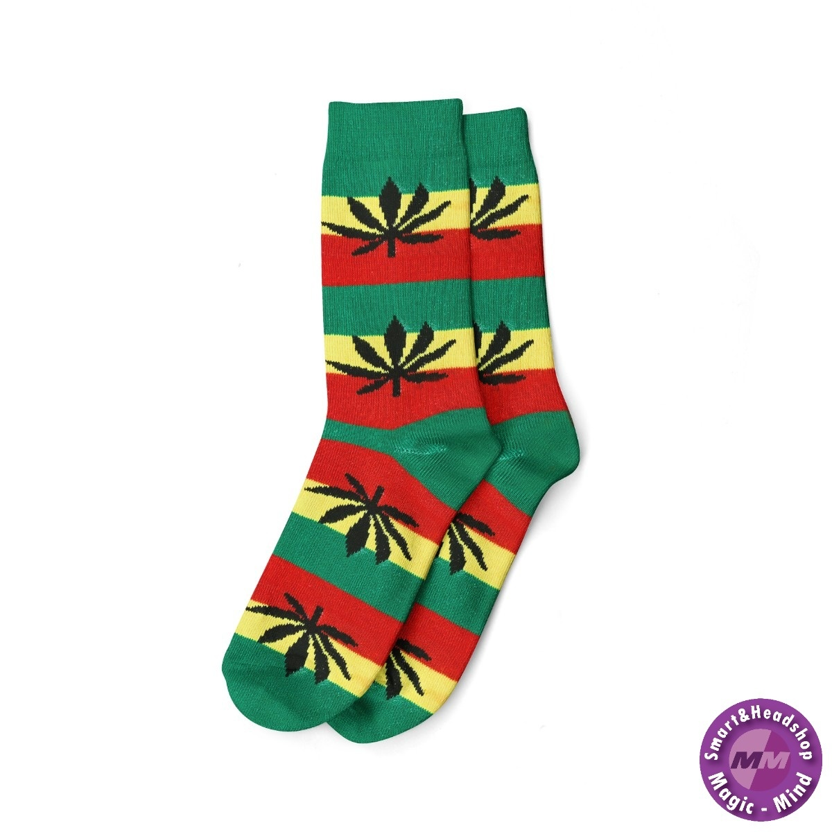 Cannabis LONG SOCKS-WOMEN'S SIZE(36-42)-RASTA/BLACK LEAF