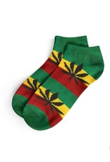 Cannabis SHORT SOCKS-WOMEN'S SIZE(36-42)-RASTA/BLACK LEAF