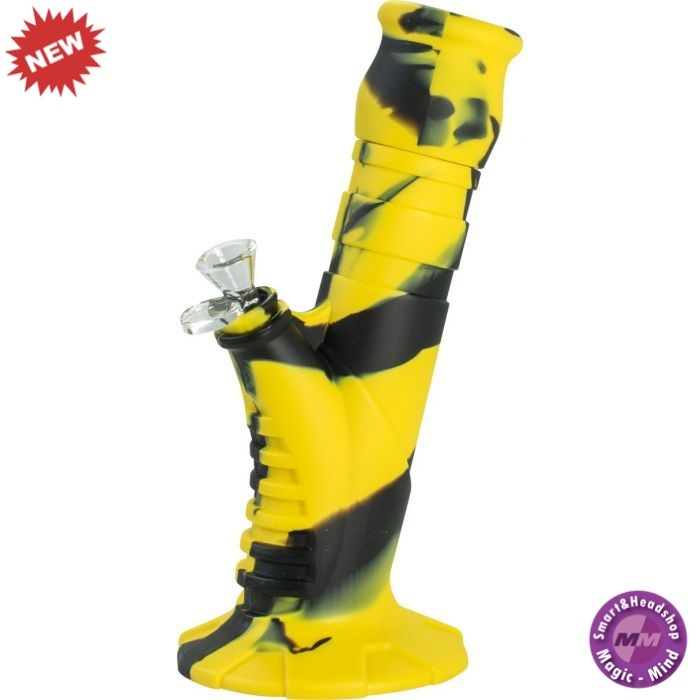 Silicone Bong Silicone Bong 10' Beaker 2 Part Yellow + Black 25 cm