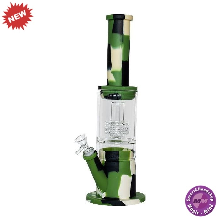 Silicone Bong Silicone Waterpipe Glass Part + Perculator Camouflage 38cm