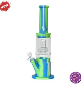 Silicone Bong Silicone Waterpipe Glass Part + Perculator Green + Blue 38cm
