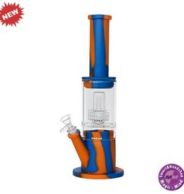 Silicone Bong Silicone Waterpipe Glass Part + Perculator Red + Blue 38cm